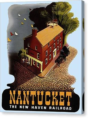 Vintage Nantucket Travel Poster Canvas Print