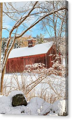 Red Barn In Snow Canvas Print - Vintage New England Barn Portrait by Bill Wakeley