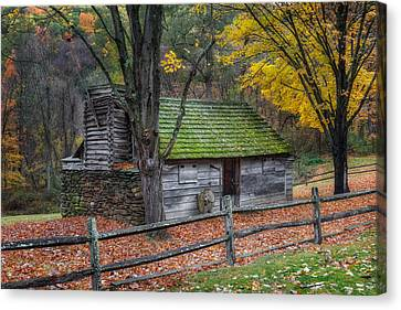 Old Barns Canvas Print - Vintage New England Cabin by Bill Wakeley