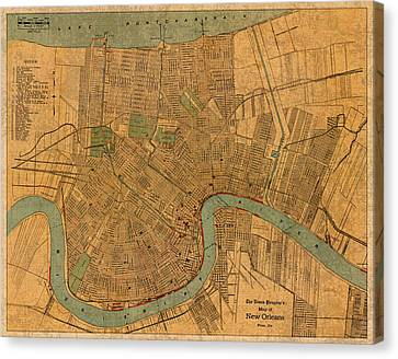 Vintage New Orleans Louisiana Street Map 1919 Retro Cartography Print On Worn Canvas Canvas Print by Design Turnpike