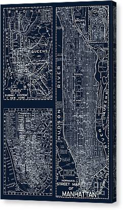 Staten Island Canvas Print - Vintage New York City Street Map by Mindy Sommers