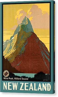 Vintage New Zealand Travel Poster Canvas Print by George Pedro