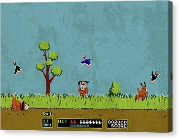Scene Canvas Print - Vintage Nintendo Nes Duck Hunt Game Scene by Design Turnpike