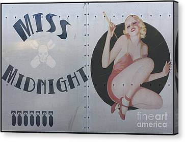 B17 Canvas Print - Vintage Nose Art Miss Midnight by Cinema Photography