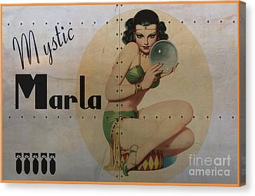B17 Canvas Print - Vintage Nose Art Mystic Marla by Cinema Photography