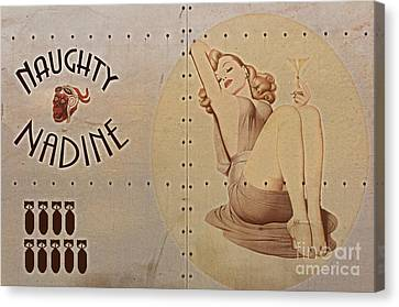 Vintage Nose Art Naughty Nadine Canvas Print by Cinema Photography