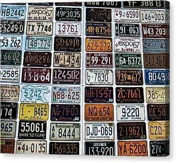 Vintage Number Plates Canvas Print