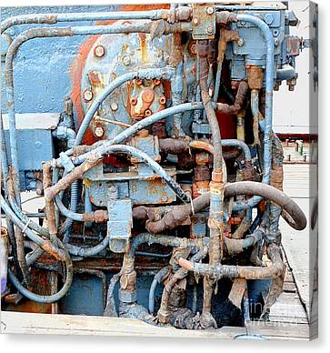 Canvas Print featuring the photograph Vintage Old Diesel Engine On A Ship by Yali Shi