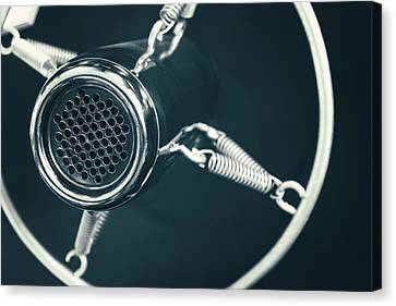 Vintage Old Round Studio Voice Microphone, Black And White Canvas Print