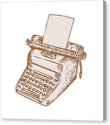 Typewriter Keys Canvas Print - Vintage Old Style Typewriter Etching by Aloysius Patrimonio