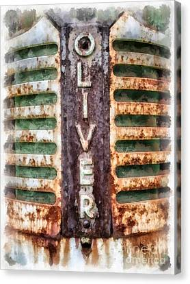 Vintage Oliver Tractor Grill Canvas Print by Edward Fielding