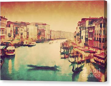 Vintage Painting Of Venice, Italy. Gondola Floats On Grand Canal Canvas Print by Michal Bednarek