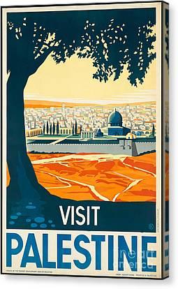 Vintage Palestine Travel Poster Canvas Print by George Pedro