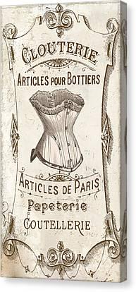 Vintage Paris Corsette Sign Canvas Print by Mindy Sommers