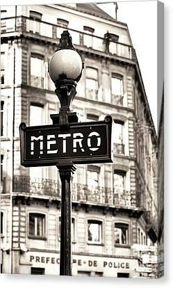 Vintage Paris Metro Canvas Print by John Rizzuto