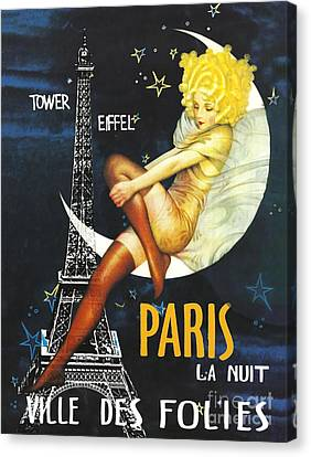 Vintage Paris Moon Canvas Print by Mindy Sommers