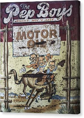 Canvas Print featuring the photograph Vintage Pep Boys Sign by Christina Lihani