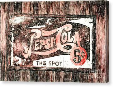 Vintage Pepsi Cola Sign Canvas Print by Mel Steinhauer