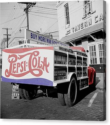 Vintage Soda Bottles Canvas Print - Vintage Pepsi Truck by Andrew Fare