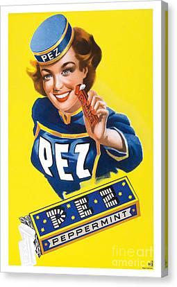 Vintage Pez Advertisment Canvas Print by Jon Neidert