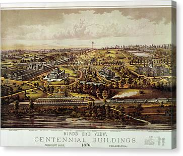 Vintage Philadelphia 1876 Centennial Map Canvas Print