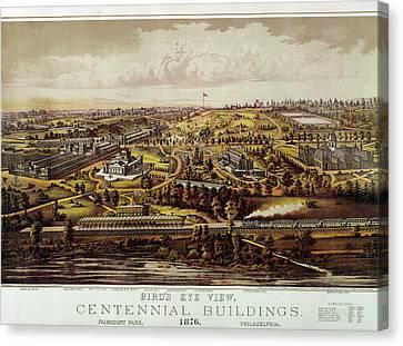 Vintage Philadelphia 1876 Centennial Map Canvas Print by Mark Kiver