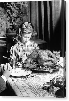 Vintage Photo Depicting Thanksgiving Dinner Canvas Print by American School