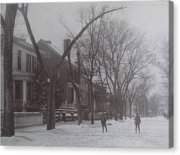 Vintage Photograph 1902 Snowball Fight New Bern Nc Canvas Print by Virginia Coyle