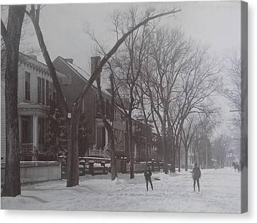 Vintage Photograph 1902 Snowball Fight New Bern Nc Canvas Print
