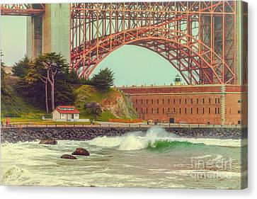 Vintage Photograph Of Fort Point And Golden Gate Bridge - San Francisco California Canvas Print by Silvio Ligutti