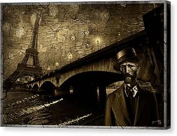 Vintage Photograph Of Vincent In Paris Canvas Print
