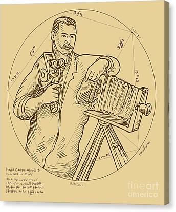 Vintage Photographer Video Camera Canvas Print by Aloysius Patrimonio