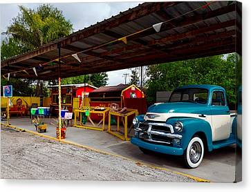 Overhang Canvas Print - Vintage Pickup At Taco Stand by Mountain Dreams