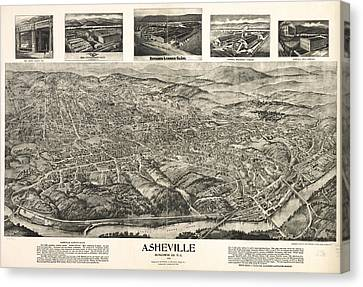 Vintage Pictorial Map Of Asheville Nc  Canvas Print by CartographyAssociates