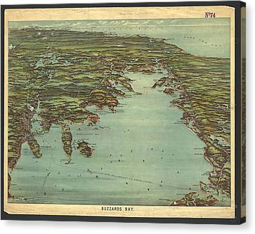 Vintage Pictorial Map Of Buzzards Bay  Canvas Print by CartographyAssociates