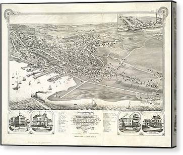 Vintage Pictorial Map Of Nantucket - 1881 Canvas Print by CartographyAssociates