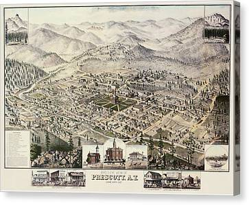 Vintage Pictorial Map Of Prescott Arizona - 1885 Canvas Print by CartographyAssociates