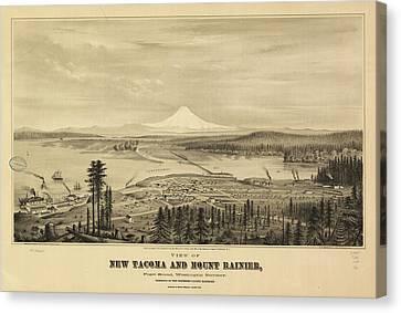 Vintage Pictorial Map Of Tacoma Washington - 1878 Canvas Print
