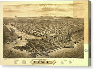 Vancouver Canvas Print - Vintage Pictorial Map Of Victoria Vancouver - 1878 by CartographyAssociates