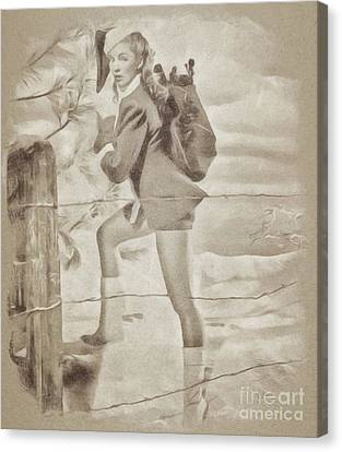 Vintage Pinup Canvas Print by John Spirngfield