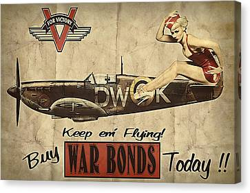 Vintage Pinup Warbond Ad Canvas Print by Cinema Photography