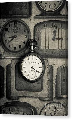 Canvas Print featuring the photograph Vintage Pocket Watch Over Old Clocks by Edward Fielding