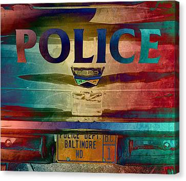Vintage Police Department Car - Baltimore, Maryland Canvas Print