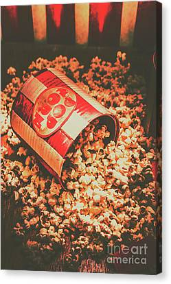 Vintage Popcorn Tin. Faded Films Still Life Canvas Print