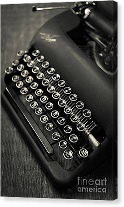 Canvas Print featuring the photograph Vintage Portable Typewriter by Edward Fielding