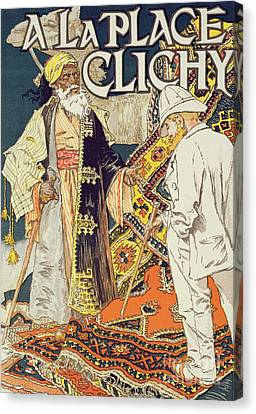 Colonial Man Canvas Print - Vintage Poster Advertising A La Place Clichy, A Shop Specializing In Oriental Goods, 1891 by Eugene Grasset