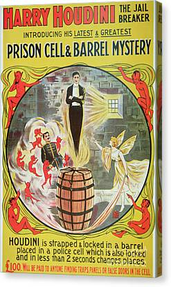 Marketing Stunt Canvas Print - Vintage Poster Advertising A New Escape Act By Houdini  by American School