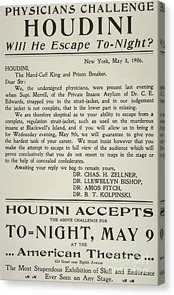Marketing Stunt Canvas Print - Vintage Poster Advertising A Performance By Houdini At The American Theatre, May 1906  by American School