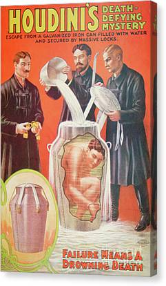 Marketing Stunt Canvas Print - Vintage Poster Advertising Houdini by American School