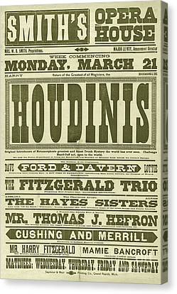 Marketing Stunt Canvas Print - Vintage Poster Circa 1898 Advertising A Performance By The Magician Harry Houdini  by American School